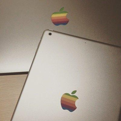 """iPad Air Pro 9.7"""" 10.5"""" 經典彩虹🌈 Rainbow Apple Logo 貼紙 Sticker (包郵)"""