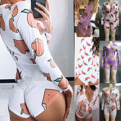 寶島小甜甜~Jumpsuits printing long sleeve pajamas deep V nightclub