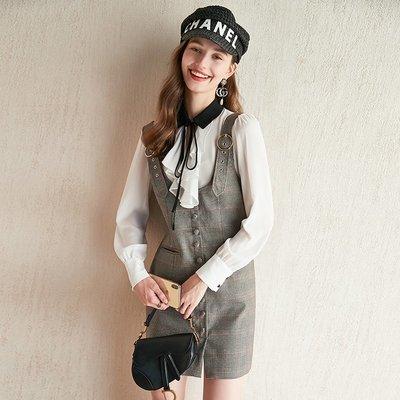 ☆TANG KOREA*╮正韓 荷葉邊白襯衫+複古格子背帶連身裙