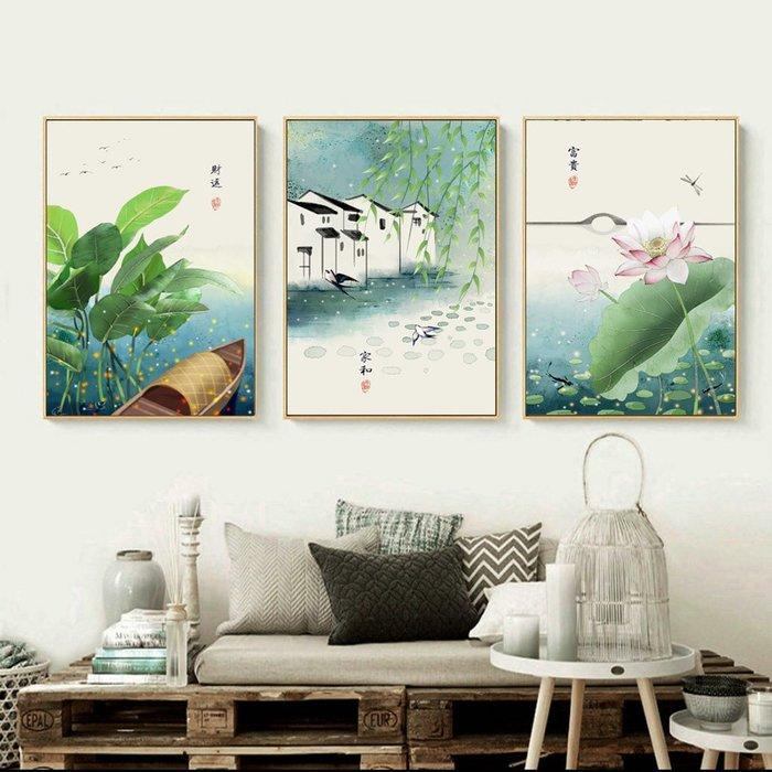 新中式民俗古風荷花簡約素雅裝飾畫畫芯微噴打印畫心客廳(3款可選)