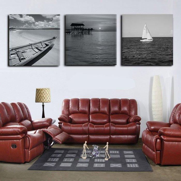 文藝 家飾 掛畫 裝飾畫 背景墻 唯美為家裝飾畫時尚簡約無框畫現代客廳掛畫黑白風景畫大海與小船 米斯特芳