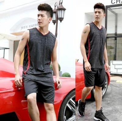 莎芭 無袖運動服套裝 夏季跑步衣服男訓練裝備寬松大尺碼速幹透氣背心籃球服L-5XL碼