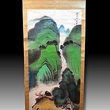【 金王記拍寶網 】S1606 張大千款 潑彩 山水圖 手繪書畫捲軸一幅 罕見 稀少~