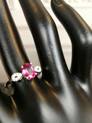 水晶珠寶翡翠粉紅碧璽925銀戒 优雅氣質款 老婆女友閨密最佳礼物
