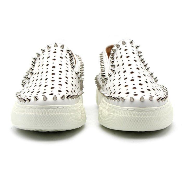 NYCT 韓國限定原創 高品質 歐美熱賣韓星百搭時尚經典鉚釘環繞套腳樂福鞋全身打孔透氣牛皮小白鞋