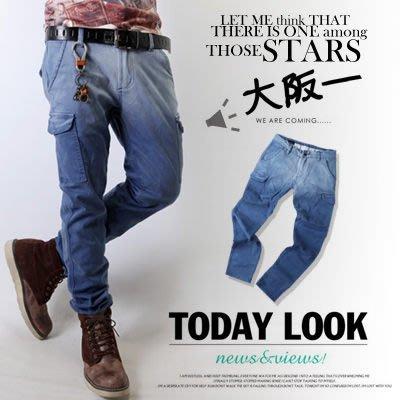 柒零年代Japanism【N8241J】韓版質感漸層掛染刷色特色雙口袋小直統牛仔褲(LE-W308)