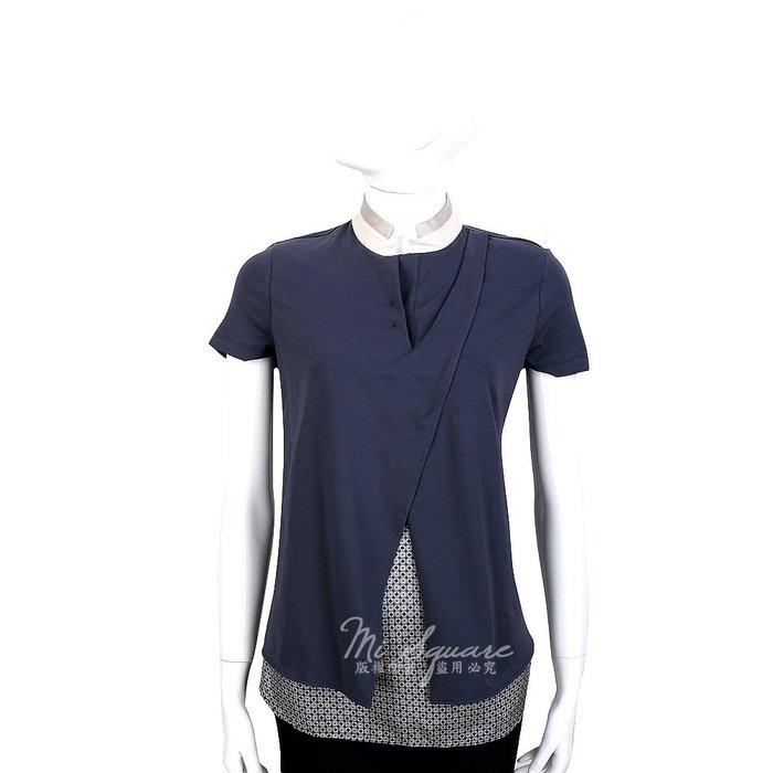 米蘭廣場 FABIANA FILIPPI 深藍色拼接設計短袖上衣 1420113-59