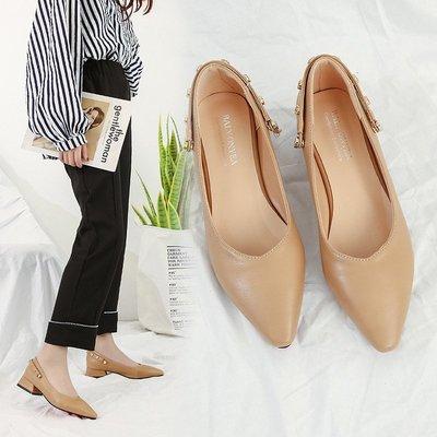單鞋女2018夏季新款韓版尖頭淺口粗跟復古奶奶鞋兩穿鉚釘瑪麗珍鞋
