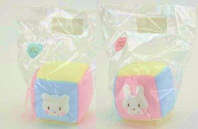 尼德斯Nydus~* 嚴選日本製 嬰兒/Baby用品 兔兔 熊熊 鈴鐺 玩具方塊 棉質 約10x10 cm