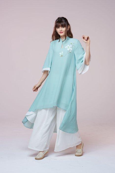 !中國藍Anewei水仙花綠長衫/旗袍/旗袍上衣-F-另有粉色 萊爾富免運