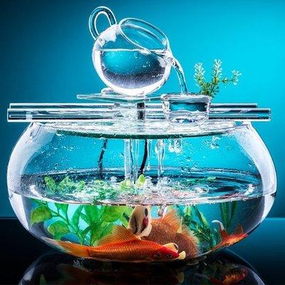 5Cgo【宅神】含稅會員有優惠546119934950 開業送禮流水噴泉魚缸魚池辦公室擺件創意家居小擺設計玻璃加濕客廳臥