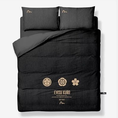 Evsiu黑色繡花床單被套四件套