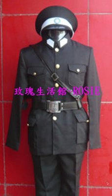 【演出show】~ 德軍黑警察服, 黑軍服,  含皮帶,帽, S號,M號L號