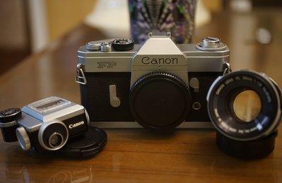 【售】個人收藏經典Canon FP純機械單眼底片機加購FL50mm F1.8+外掛專屬測光表 A1 AE1 F1