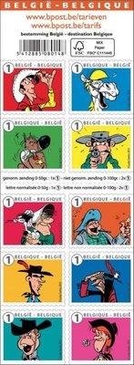 2015年比利時漫畫Lucky Luk-朋友和敵人自黏郵票booklet
