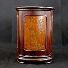 【侘美術】老留青竹雕四季筆筒