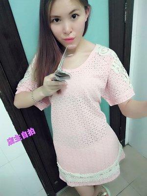 =EZZ= B701 韓國 首爾時尚精品 東大門同步  韓版針織繡花 連衣裙  大碼連衣裙 4 色