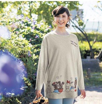 預購 日本 正版 迪士尼 純棉 雙材質 長版T恤 尺寸很齊全 S到LL 一共有2個顏色可以選擇