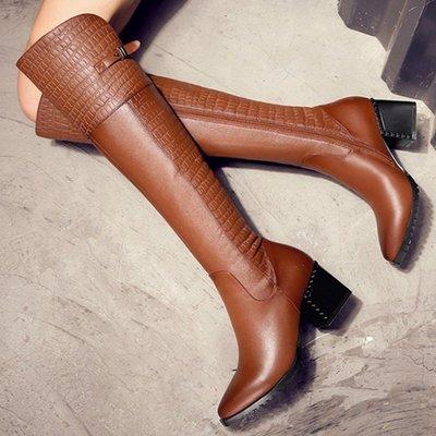 AS0156 34-39碼 小香風真牛皮 抗氧化 過膝靴 長靴 長筒靴 馬靴  靴子 女靴 女鞋 大碼 女鞋 大尺碼女鞋