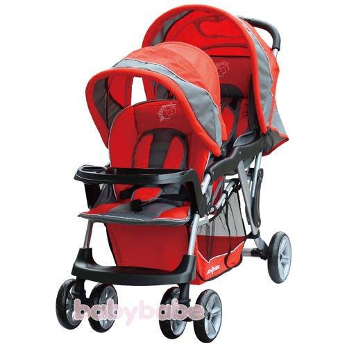 娃娃屋~~~~BabyBabe B329歐風雙人手推車(紅色/藍色)