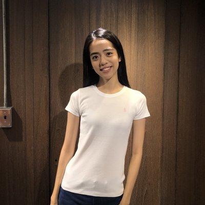 美國百分百【Ralph Lauren】圓領 T恤 RL 短袖 T-shirt Polo 素面 小馬 白色 女 I397
