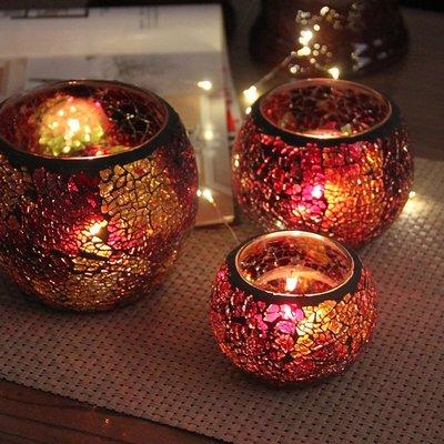 熱銷#北歐式西餐廳玻璃馬賽克香薰蠟燭臺浪漫七夕節禮物燭光晚餐桌布置#燭臺#裝飾