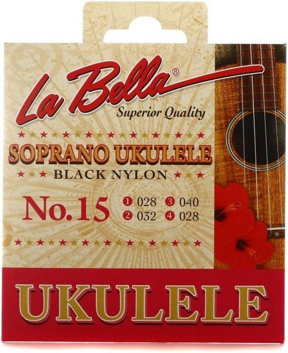 ☆唐尼樂器︵☆全新公司貨 La Bella No.15 Soprano 21吋烏克麗麗套弦(黑色尼龍弦)