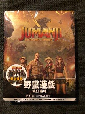 (全新未拆封)野蠻遊戲 瘋狂叢林 Jumanji 4K UHD+藍光BD 首批內附紙上遊戲 雙碟鐵盒版(得利公司貨)