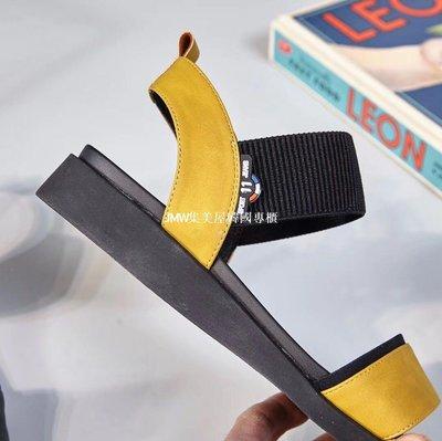 JMW集美屋韓國專櫃2019夏季新款韓版平底低跟彈力帶套腳露趾女涼鞋官方網正品