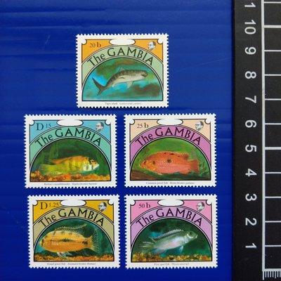 【大三元】各國魚類專題郵票-非洲郵票-甘比亞-新票五全1套-原膠-G65