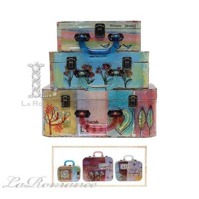 【Creative Home】 Heart & Home 心戀家居系列木製彩繪置物箱 / 收納箱 / 儲物箱 (三件組)