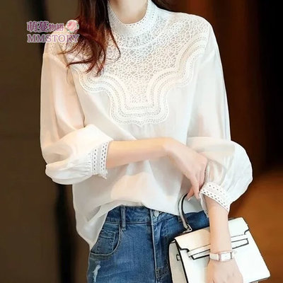 時髦拼接燈籠袖寬鬆蕾絲襯衫  萌蔓物語 【KF0301】韓氣質女上衣