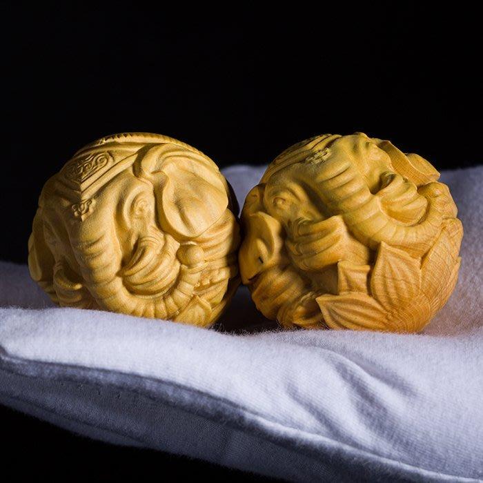 5Cgo【茗道】546787584710 黃楊木雕保健球象牙球木雕精品手把玩文玩大象雕刻工藝禮品古典茶玩茶寵博古架-一對