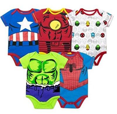 預購 美國帶回童裝 男寶寶 marvel 英雄款 蜘蛛人 鋼鐵人 美國隊長 短袖包屁衣組合 五件一組