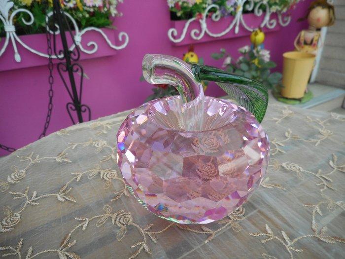 ~~凡爾賽生活精品~~全新粉紅色蘋果平平安安造型水晶開運擺飾