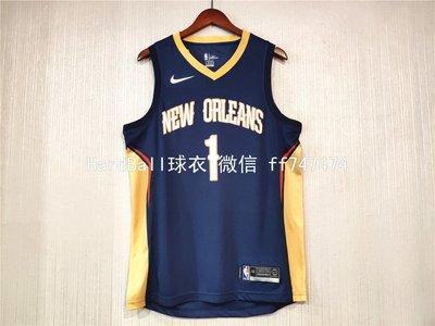 錫安·威廉森 (Zion Williamson) NBA新奧爾良鵜鶘隊 球衣 熱轉印款式1號 藍色