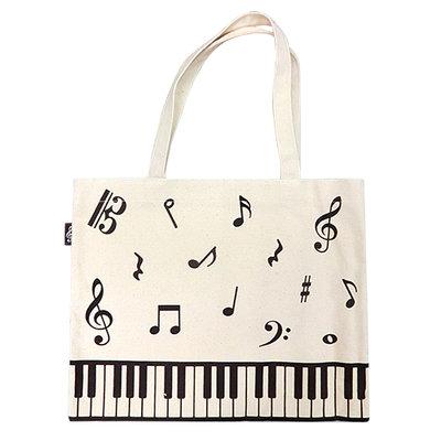 【華邑樂器98820-1】帆布手提袋-鍵盤音符亂碼 (尺寸:30x38.5cm 樂譜袋T072)