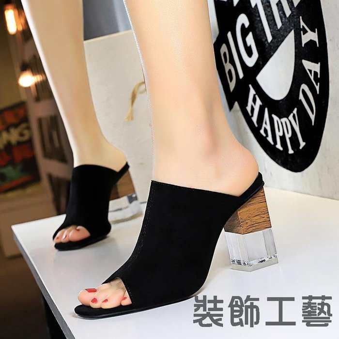 8362-1韓版潮流女拖鞋半拖透明水晶跟粗跟高跟顯瘦一字魚魚嘴拖鞋