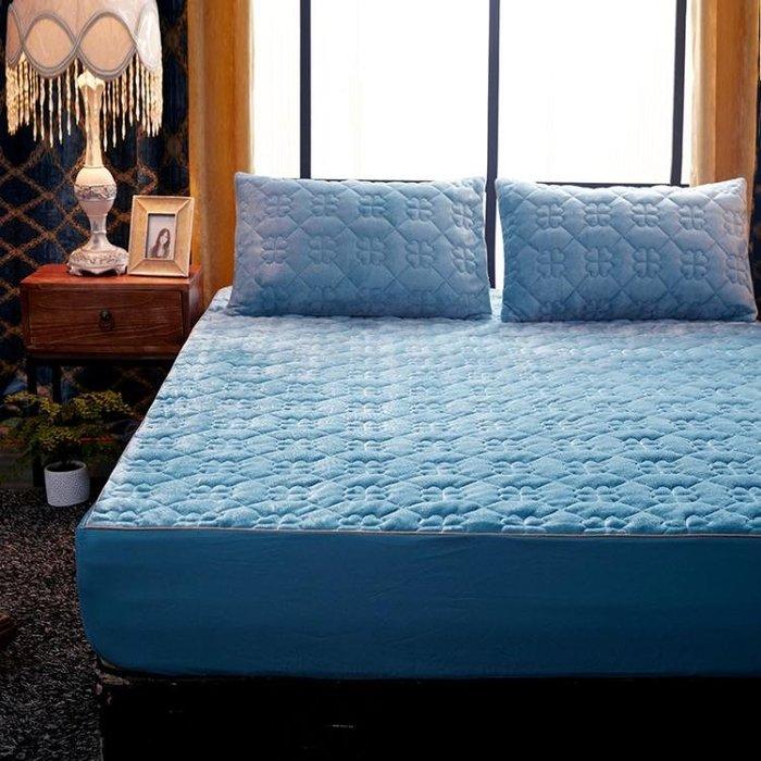 鋪棉單床包/雙人珊瑚絨床包單件150x200公分加厚舖棉保暖席夢思床墊套保潔墊『全館免運,滿千折百』