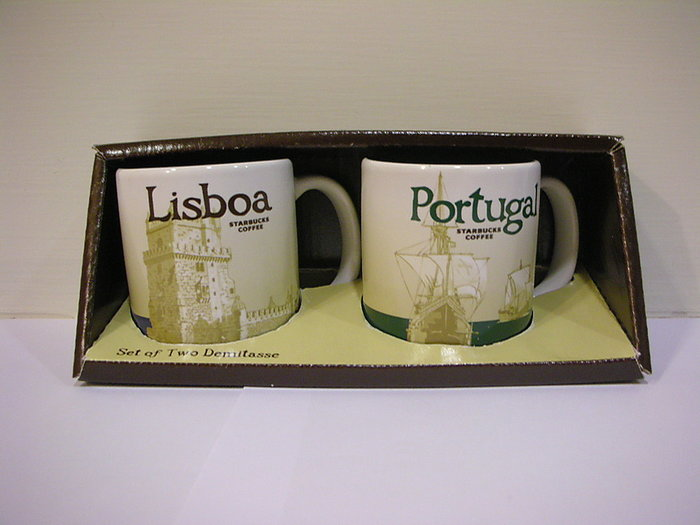 全新絕版泰國製質優厚實星巴克Starbucks 國家杯城市杯 3oz 濃縮小杯組 - 葡萄牙+里斯本有 SKU # 貼紙