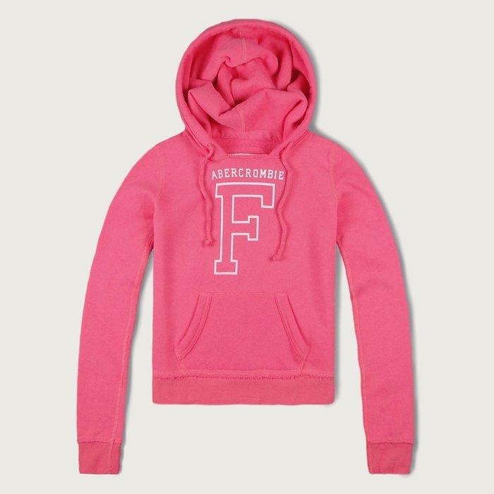 【Abercrombie&Fitch】【A&F】【零碼XS】AF女款連帽T恤白植絨字大空F粉 F04150812-01