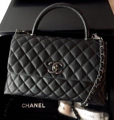 Chanel Coco Handle Handbag medium 荔枝牛皮復古銀扣