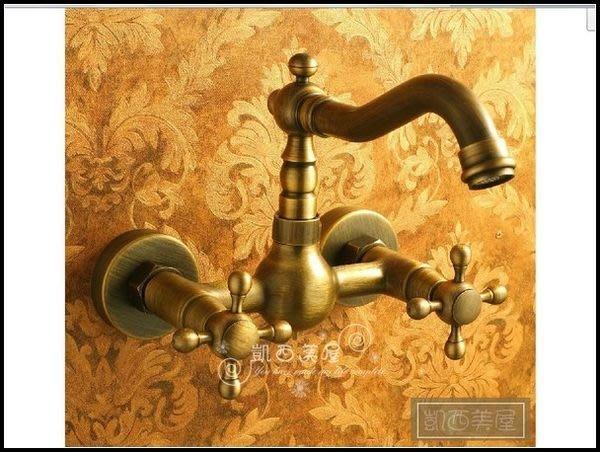 凱西美屋 全銅古典入牆式水龍頭 復古面盆龍頭 青古銅水龍頭 仿古浴缸龍頭