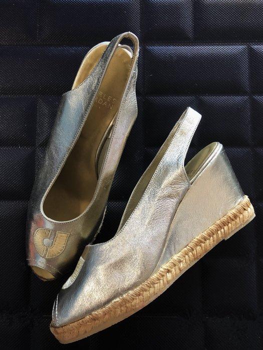 法國帶回charles jourdan 金色小羊皮楔型高跟涼鞋