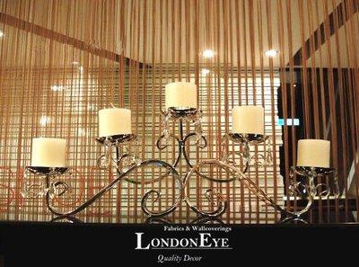 【 LondonEYE 】WEDDING婚禮型階梯式五頭燭台/燭臺‧鍍銀款附水晶鍊‧韓劇浪漫燭光晚餐