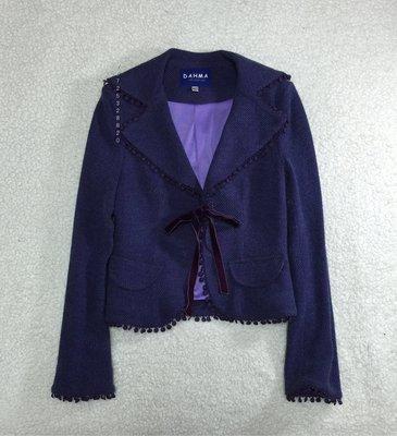 全新 DAHMA  藍紫色小羊毛綁帶外套  size:M ,$990含運