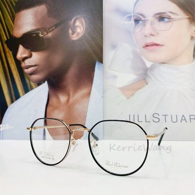 Paul Hueman 韓國熱銷品牌 黑-金色細邊鈦金屬多邊形眼鏡 英倫街頭時尚 學院復古潮流 出眾品味浪漫優雅 PHF5175A 5175