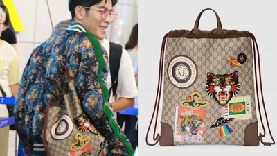 Gucci 473872 GG Supreme drawstring backpack 貼圖 GG 後背包