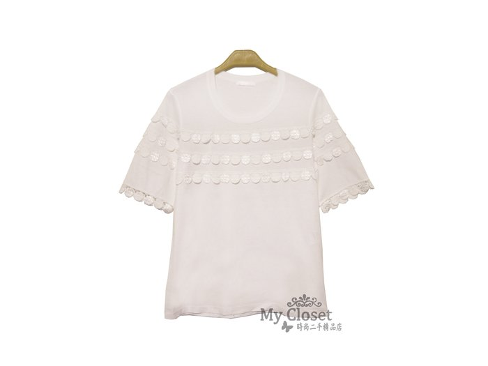 My Closet 二手名牌 CHLOE 白色鑲圓形蕾絲 短袖上衣