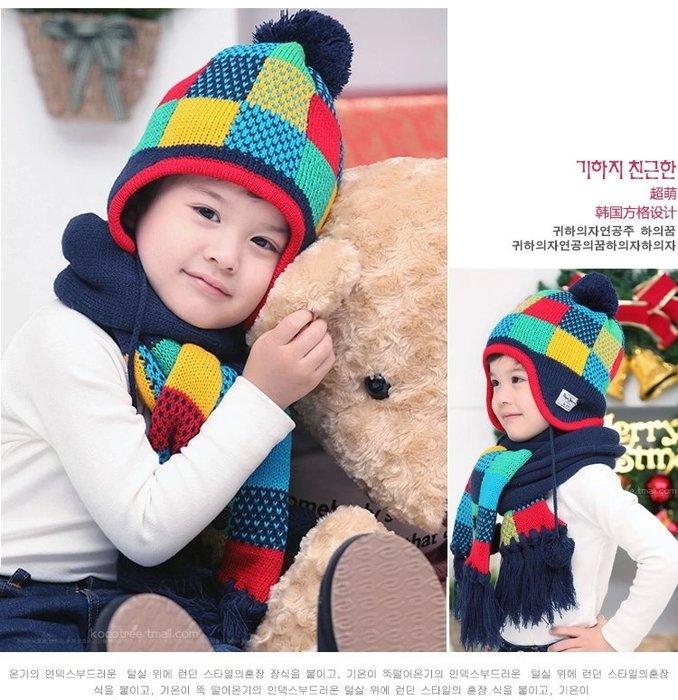 韓國kk樹男女兒童圍巾寶寶針織潮版,兒童帽子圍巾兩件套裝潮版 【來自韓國的 綠色呵護】 時尚 加厚保暖 親膚